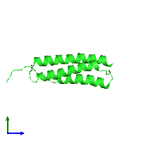PDB 1m62 coloured by chain and viewed from the side.