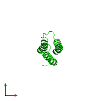 PDB 1m62 coloured by chain and viewed from the top.