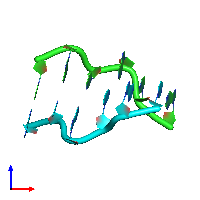 PDB 1m6r coloured by chain and viewed from the front.