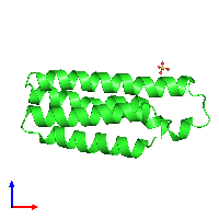 PDB 1m6t coloured by chain and viewed from the front.