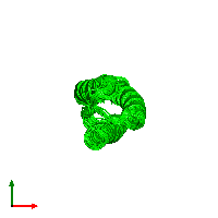 0-meric assembly 1 of PDB entry 1m7k coloured by chemically distinct molecules and viewed from the top.