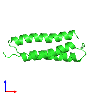 PDB 1m7k coloured by chain and viewed from the front.
