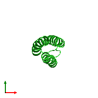 PDB 1m7k coloured by chain and viewed from the top.