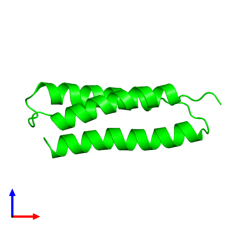 <div class='caption-body'><ul class ='image_legend_ul'>The deposited structure of PDB entry 1m7k coloured by chemically distinct molecules and viewed from the front. The entry contains: <li class ='image_legend_li'>1 copy of Silencer of Death Domains</li><li class ='image_legend_li'>There are no non-polymeric molecules</li></ul></li></ul></li></div>