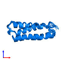 PDB 1m7k contains 1 copy of Silencer of Death Domains in assembly 1. This protein is highlighted and viewed from the front.