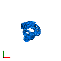 PDB 1m7k contains 1 copy of Silencer of Death Domains in assembly 1. This protein is highlighted and viewed from the top.