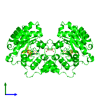 Dimeric assembly 2 of PDB entry 1m9h coloured by chemically distinct molecules and viewed from the side.