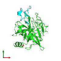 PDB 1mcv coloured by chain and viewed from the top.