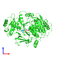PDB 1md9 coloured by chain and viewed from the front.