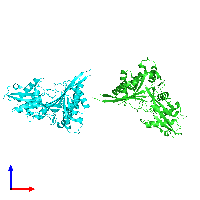 PDB 1mg7 coloured by chain and viewed from the front.