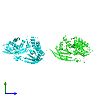 PDB 1mg7 coloured by chain and viewed from the side.