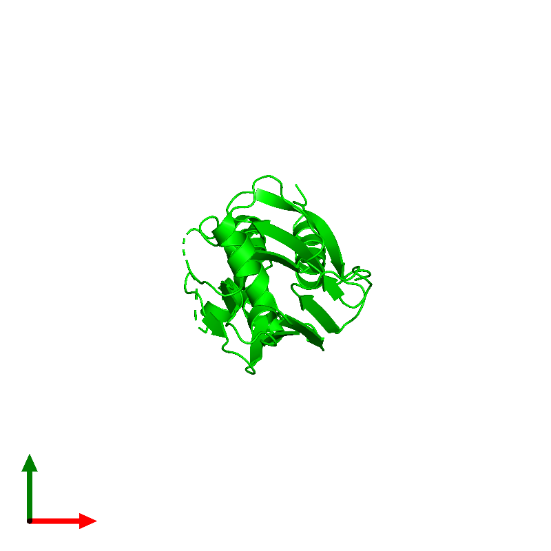<div class='caption-body'><ul class ='image_legend_ul'> Monomeric assembly 1 of PDB entry 1mjs coloured by chemically distinct molecules and viewed from the top. This assembly contains:<li class ='image_legend_li'>One copy of SMAD 3</li></ul></div>