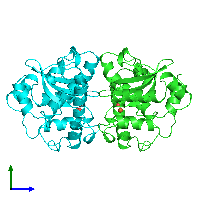 PDB 1mmm coloured by chain and viewed from the side.