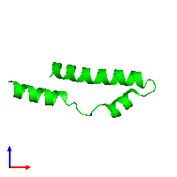 Monomeric assembly 1 of PDB entry 1mn3 coloured by chemically distinct molecules and viewed from the front.