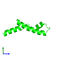 Monomeric assembly 1 of PDB entry 1mn3 coloured by chemically distinct molecules and viewed from the side.