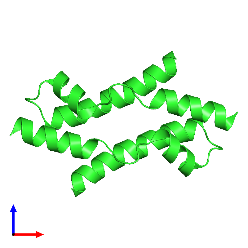 <div class='caption-body'><ul class ='image_legend_ul'> Dimeric assembly 2 of PDB entry 1mn3 coloured by chain and viewed from the front. This assembly contains:<li class ='image_legend_li'>2 copies of Vacuolar protein sorting-associated protein VPS9</li></ul></div>