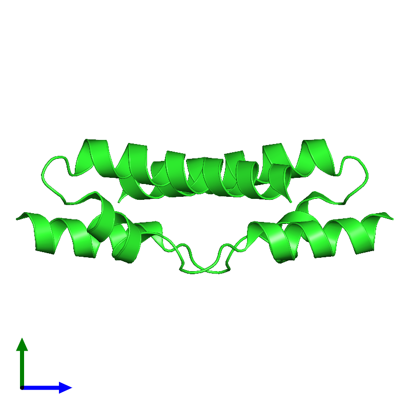 <div class='caption-body'><ul class ='image_legend_ul'> Dimeric assembly 2 of PDB entry 1mn3 coloured by chain and viewed from the side. This assembly contains:<li class ='image_legend_li'>2 copies of Vacuolar protein sorting-associated protein VPS9</li></ul></div>