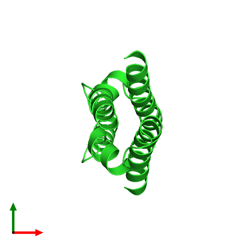 <div class='caption-body'><ul class ='image_legend_ul'> Dimeric assembly 2 of PDB entry 1mn3 coloured by chain and viewed from the top. This assembly contains:<li class ='image_legend_li'>2 copies of Vacuolar protein sorting-associated protein VPS9</li></ul></div>