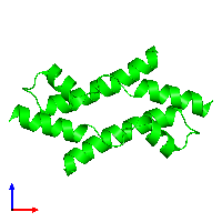 Dimeric assembly 2 of PDB entry 1mn3 coloured by chemically distinct molecules and viewed from the front.