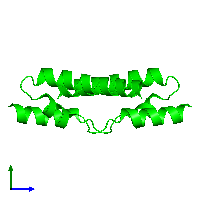 Dimeric assembly 2 of PDB entry 1mn3 coloured by chemically distinct molecules and viewed from the side.