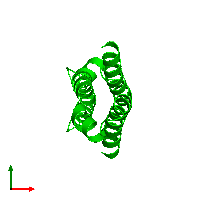 Dimeric assembly 2 of PDB entry 1mn3 coloured by chemically distinct molecules and viewed from the top.