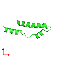 PDB 1mn3 coloured by chain and viewed from the front.