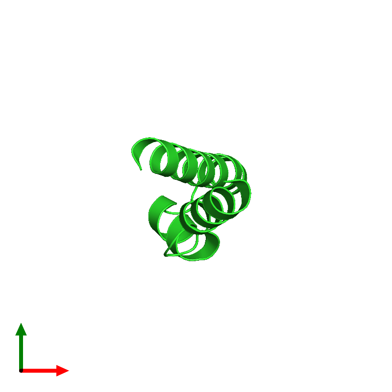<div class='caption-body'><ul class ='image_legend_ul'>The deposited structure of PDB entry 1mn3 coloured by chain and viewed from the top. The entry contains: <li class ='image_legend_li'>1 copy of Vacuolar protein sorting-associated protein VPS9</li><li class ='image_legend_li'>[]</li></ul></li></ul></li></div>