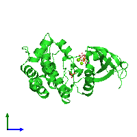PDB 1mq4 coloured by chain and viewed from the side.