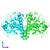 PDB 1msd coloured by chain and viewed from the side.
