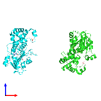 PDB 1n2x coloured by chain and viewed from the front.