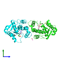PDB 1n5l coloured by chain and viewed from the side.