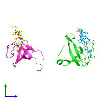 PDB 1n5z coloured by chain and viewed from the side.