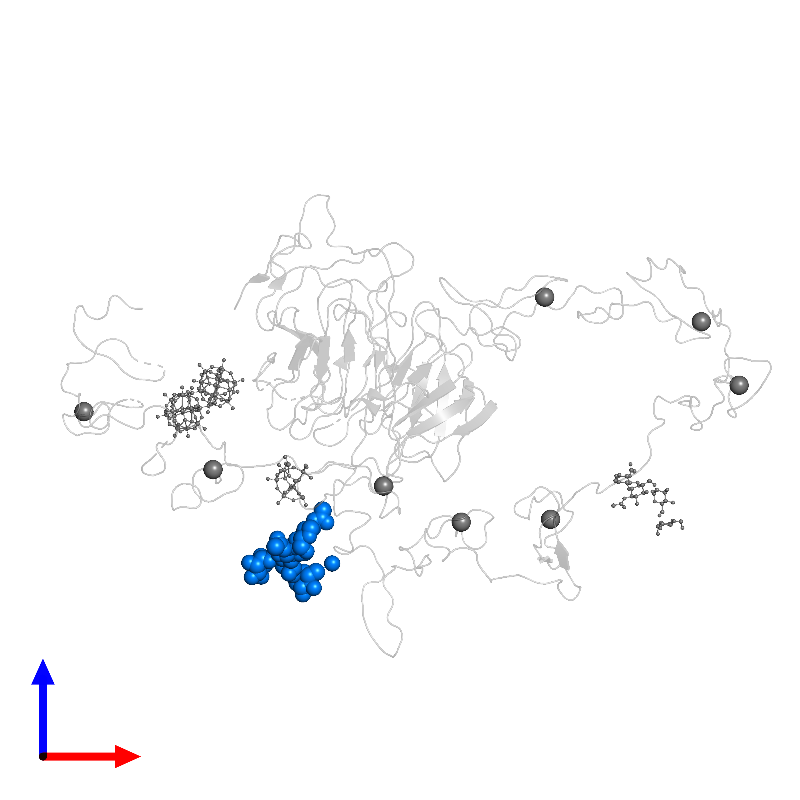 <div class='caption-body'>PDB entry 1n7d contains 1 copy of alpha-D-mannopyranose-(1-3)-[alpha-D-mannopyranose-(1-6)]beta-D-mannopyranose-(1-4)-2-acetamido-2-deoxy-beta-D-glucopyranose-(1-4)-2-acetamido-2-deoxy-beta-D-glucopyranose in assembly 1. This small molecule is highlighted and viewed from the front.</div>