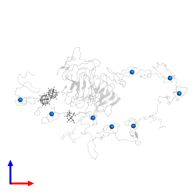 <div class='caption-body'>PDB entry 1n7d contains 8 copies of CALCIUM ION in assembly 1. This small molecule is highlighted and viewed from the front.</div>