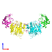 PDB 1nkh coloured by chain and viewed from the front.