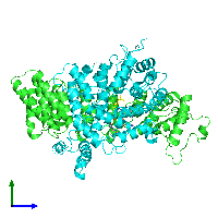 PDB 1nl4 coloured by chain and viewed from the side.