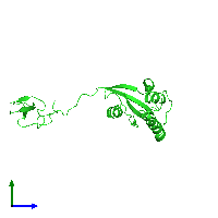 PDB 1nmv coloured by chain and viewed from the side.