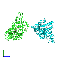 PDB 1np7 coloured by chain and viewed from the side.