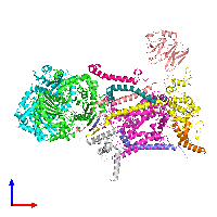 PDB 1ntm coloured by chain and viewed from the front.