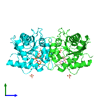PDB 1nup coloured by chain and viewed from the side.