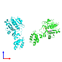 PDB 1nv8 coloured by chain and viewed from the front.