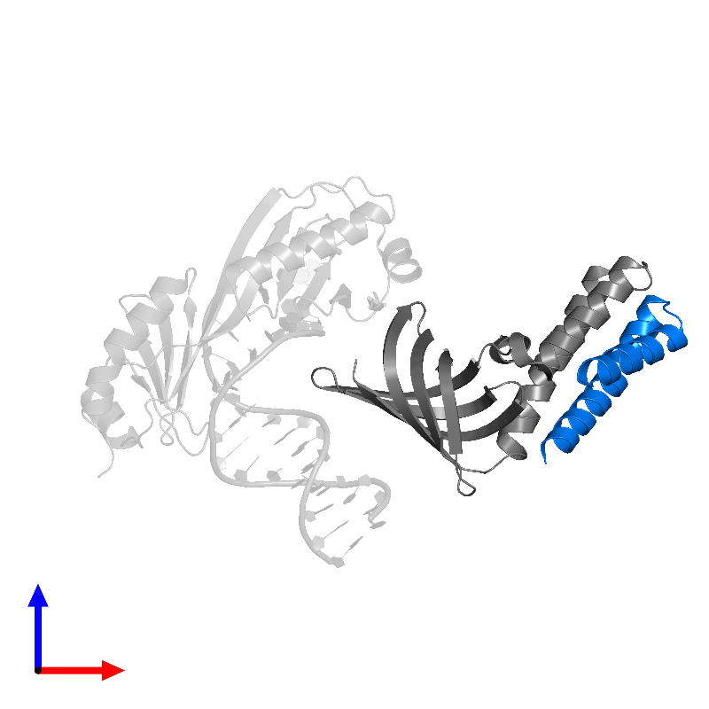 <div class='caption-body'>PDB entry 1nvp contains 1 copy of Transcription initiation factor IIA alpha chain in assembly 1. This protein is highlighted and viewed from the front.</div>