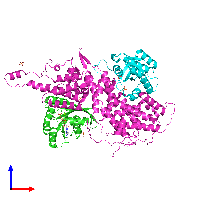 PDB 1nvu coloured by chain and viewed from the front.