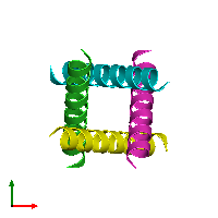 PDB 1nyj coloured by chain and viewed from the top.