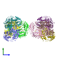PDB 1o01 coloured by chain and viewed from the side.