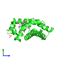 PDB 1o16 coloured by chain and viewed from the side.