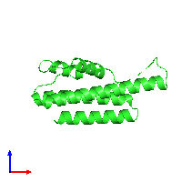 PDB 1o3u coloured by chain and viewed from the front.