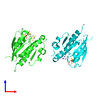 PDB 1o3y coloured by chain and viewed from the front.