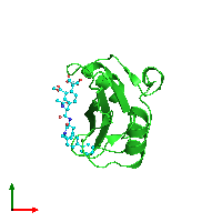 PDB 1o46 coloured by chain and viewed from the top.