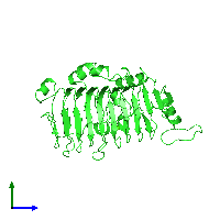 PDB 1o8h coloured by chain and viewed from the side.